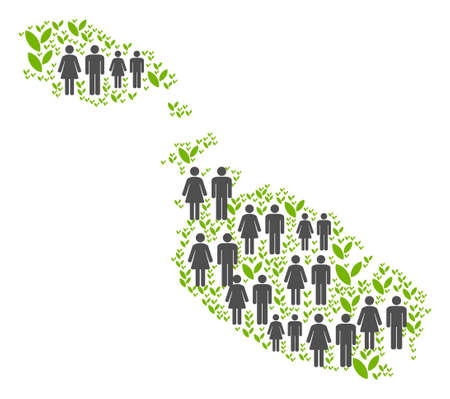 People population and green plants Malta Island map. Vector pattern of Malta Island map created of randomized male and female and sprout elements in various sizes. Иллюстрация