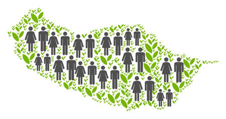People population and green plants Portugal Madeira Island map. Vector collage of Portugal Madeira Island map combined of randomized lady and gentleman and sprout items in variable sizes. Banco de Imagens - 102832475