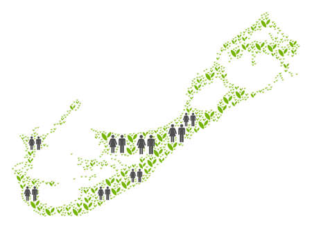 People population and flora Bermuda Island map. Vector abstraction of Bermuda Island map composed of random people couple and plant elements in different sizes. Ilustração