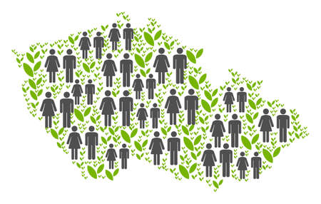 People population and flora plants Czech map. Vector abstraction of Czech map done of random lady and gentleman and flora items in variable sizes. Abstract social plan of nation community cartography.