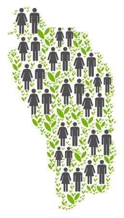 People population and ecology Dominica Island map. Vector pattern of Dominica Island map designed of randomized gender and plant items in different sizes. Illustration