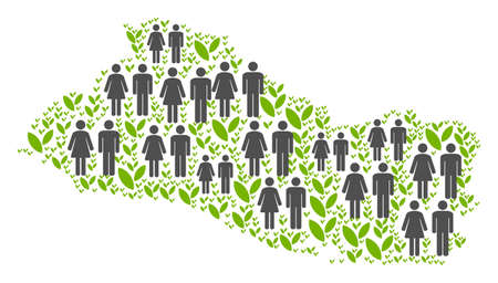 People population and green plants El Salvador map. Vector pattern of El Salvador map composed of randomized person and blossom items in various sizes. Illustration