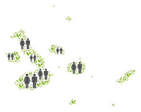 People population and green plants Galapagos Islands map. Vector concept of Galapagos Islands map constructed of randomized people couple and grass items in various sizes. Foto de archivo - 102833178