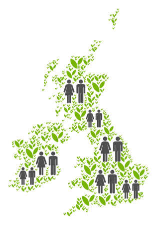People population and ecology Great Britain and Ireland map. Vector composition of Great Britain and Ireland map done of randomized person and sprout elements in various sizes.