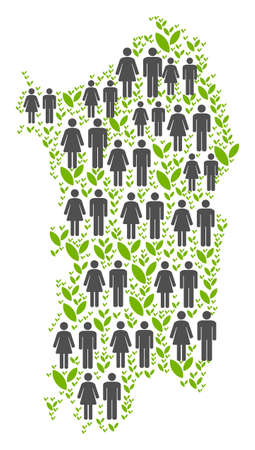 People population and environment Italian Sardinia Island map. Vector concept of Italian Sardinia Island map designed of randomized people and blossom elements in different sizes. Stock Illustratie