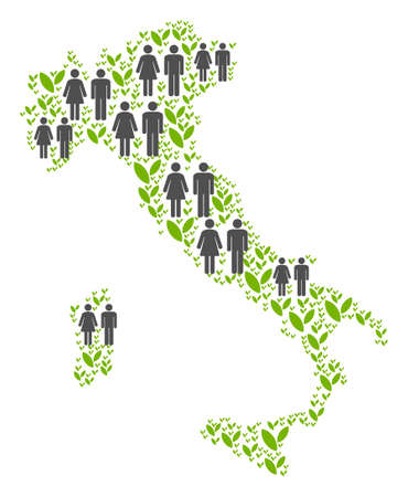 People population and grass Italy map. Vector pattern of Italy map composed of random male and female and plantation items in various sizes.