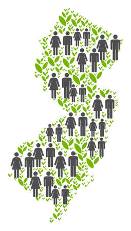 People population and green plants New Jersey State map. Vector pattern of New Jersey State map combined of random men and woman and sprout elements in various sizes. Illusztráció