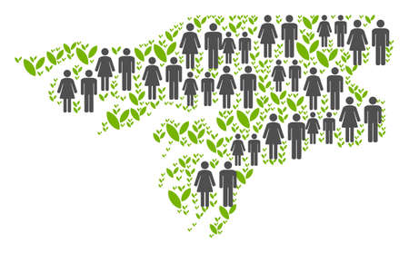 People population and ecology Guinea-Bissau map. Vector concept of Guinea-Bissau map made of randomized man and woman and sprout items in various sizes.