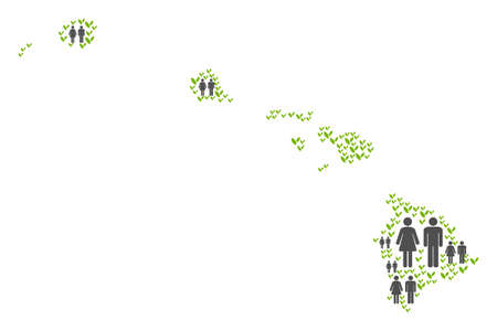 People population and eco Hawaii Islands map. Vector collage of Havaii Islands map composed of scattered gender and flora elements in various sizes. Abstract social scheme of nation group cartography.