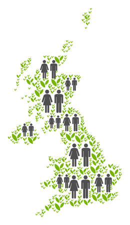 People population and eco United Kingdom map. Vector mosaic of United Kingdom map constructed of scattered male and female and agriculture elements in various sizes. Illustration