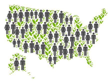 People population and green plants USA with Alaska map. Vector pattern of USA with Alaska map constructed of scattered gender and plantation items in different sizes.