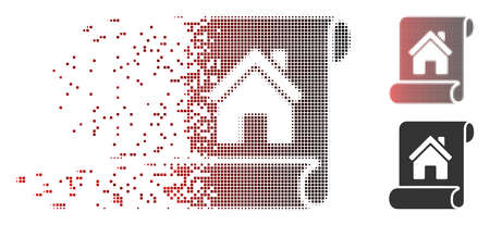 Vector realty description roll icon in dispersed, dotted halftone and undamaged solid versions. Disintegration effect uses rectangle particles and horizontal gradient from red to black.