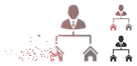 Vector realty manager icon in sparkle, dotted halftone and undamaged solid variants. Disintegration effect involves rectangle sparks and horizontal gradient from red to black. Illustration