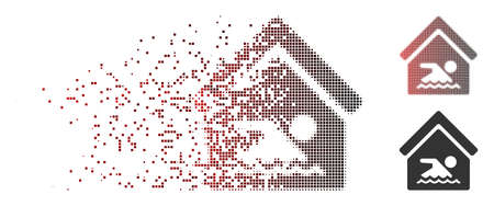 Vector indoor water pool icon in dispersed, pixelated halftone and undamaged solid versions. Disintegration effect involves rectangular sparks and horizontal gradient from red to black.