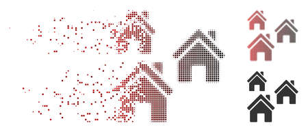 Vector village buildings icon in fractured, dotted halftone and undamaged whole variants. Disintegration effect uses rectangular particles and horizontal gradient from red to black. Illustration