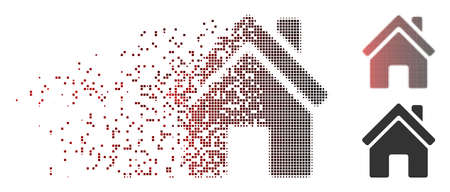 Vector home building icon in dispersed, pixelated halftone and undamaged solid variants. Disappearing effect uses square dots and horizontal gradient from red to black.