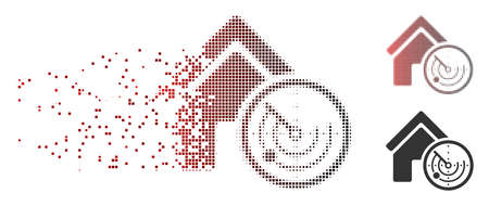 Vector realty radar icon in dispersed, dotted halftone and undamaged entire versions. Disappearing effect uses rectangular sparks and horizontal gradient from red to black.