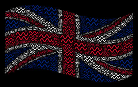 Waving British flag on a black background. Vector sinusoid waves pictograms are united into mosaic UK flag collage. Patriotic composition composed of sinusoid waves pictograms.