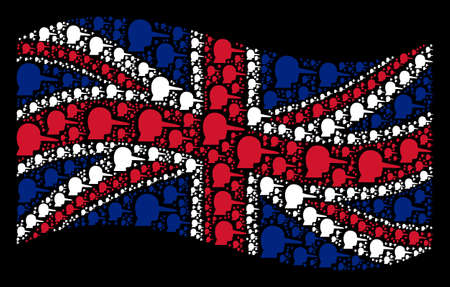 Waving United Kingdom flag on a black background. Vector lier items are scattered into mosaic Great Britain flag composition. Patriotic collage organized of lier pictograms. Illustration