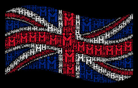 Waving British flag on a black background. Vector persons handshake elements are organized into mosaic UK flag illustration. Patriotic composition composed of persons handshake elements. Banque d'images - 102881043