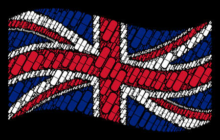 Waving Great Britain official flag on a black background. Vector pill pictograms are organized into conceptual United Kingdom flag collage. Patriotic concept constructed of pill design elements.  イラスト・ベクター素材