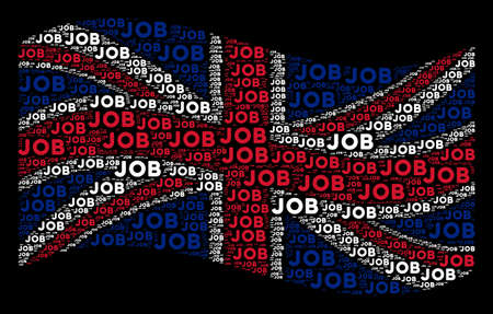 Waving United Kingdom official flag on a black background. Vector job texts are arranged into mosaic United Kingdom flag composition. Patriotic illustration organized of job texts. 向量圖像