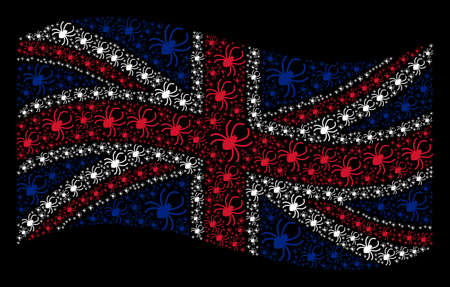 Waving UK state flag on a black background. Vector spider elements are arranged into geometric British flag abstraction. Patriotic illustration organized of spider icons. Illustration