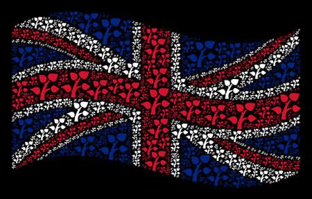 Waving UK official flag on a black background. Vector flora plant icons are arranged into conceptual UK flag composition. Patriotic illustration combined of flora plant design elements. Çizim