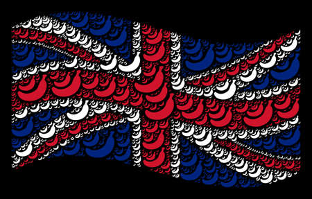 Waving British state flag on a black background. Vector banana items are scattered into geometric United Kingdom flag composition. Patriotic collage made of banana pictograms.