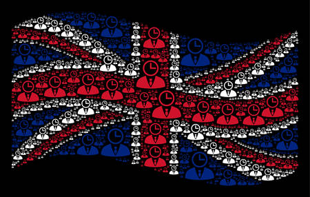 Waving English official flag on a black background. Vector time manager elements are organized into geometric United Kingdom flag illustration.