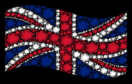 Waving United Kingdom state flag on a black background. Vector water pool elements are placed into conceptual UK flag abstraction. Patriotic composition done of water pool design elements.