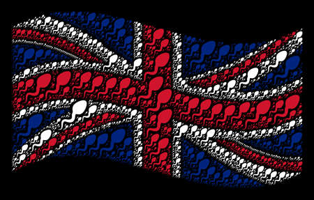 Waving English official flag on a black background. Vector spermatozoon pictograms are united into mosaic UK flag collage. Patriotic composition designed of spermatozoon design elements. Illustration