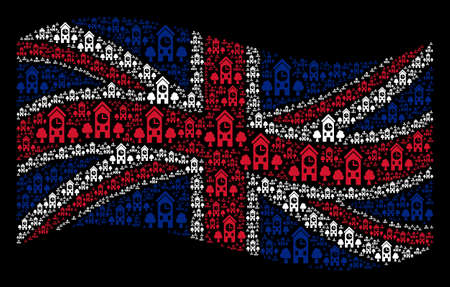 Waving UK state flag on a black background. Vector clock tower items are organized into conceptual British flag composition. Patriotic composition composed of clock tower design elements.