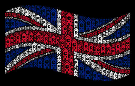 Waving Great Britain official flag on a black background. Vector clock tower icons are scattered into conceptual Great Britain flag abstraction. Patriotic illustration organized of clock tower icons. Vettoriali