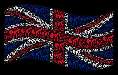 Waving Great Britain state flag on a black background. Vector fart gases elements are united into mosaic UK flag abstraction. Patriotic illustration combined of fart gases design elements. Illusztráció