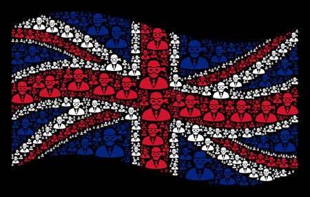 Waving United Kingdom flag on a black background. Vector masked thief items are grouped into geometric UK flag collage. Patriotic collage made of masked thief design elements. Illustration
