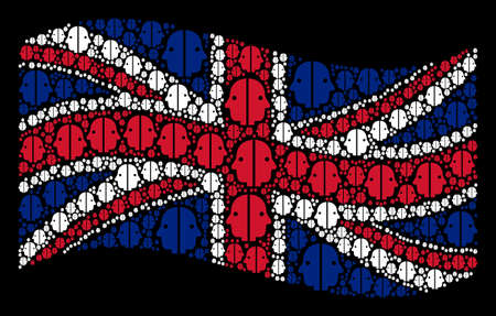 Waving English official flag on a black background. Vector dual face items are united into mosaic Great Britain flag composition. Patriotic concept combined of dual face design elements. Çizim
