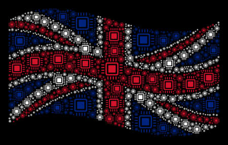 Waving UK flag on a black background. Vector processor icons are organized into conceptual UK flag illustration. Patriotic composition created of processor elements.  イラスト・ベクター素材