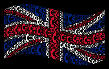Waving English flag on a black background. Vector phone ring icons are organized into geometric United Kingdom flag collage. Patriotic composition done of phone ring design elements.