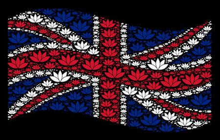 Waving UK official flag on a black background. Vector lotus flower elements are arranged into geometric UK flag abstraction. Patriotic composition created of lotus flower pictograms. Çizim