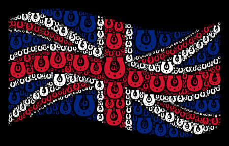 Waving British state flag on a black background. Vector horseshoe items are united into mosaic British flag abstraction. Patriotic illustration organized of horseshoe design elements. Ilustração