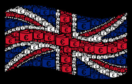 Waving United Kingdom flag on a black background. Vector Euro checkbook pictograms are combined into conceptual UK flag collage. Patriotic concept designed of Euro checkbook design elements.