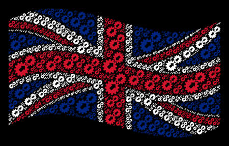 Waving Great Britain state flag on a black background. Vector integration elements are combined into mosaic United Kingdom flag illustration. Patriotic illustration done of integration icons.