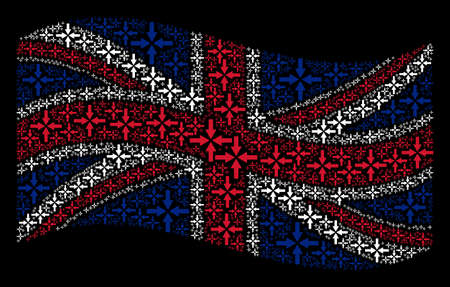 Waving UK flag on a black background. Vector collide arrows pictograms are arranged into geometric English flag abstraction. Patriotic composition combined of collide arrows design elements.