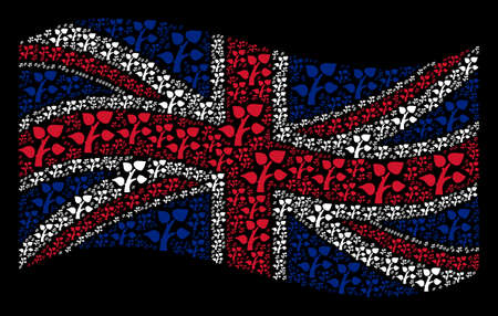 Waving UK flag on a black background. Vector plant tree design elements are combined into geometric United Kingdom flag composition. Patriotic illustration composed of plant tree pictograms. Illustration