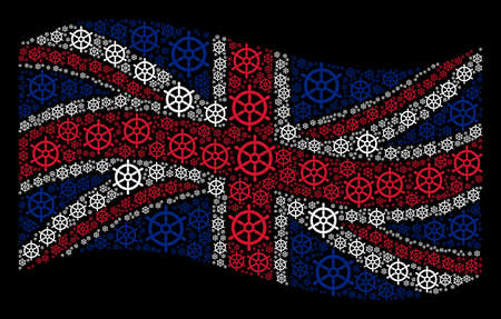 Waving English state flag on a black background. Vector boat steering wheel pictograms are arranged into geometric Great Britain flag collage. Stock Illustratie