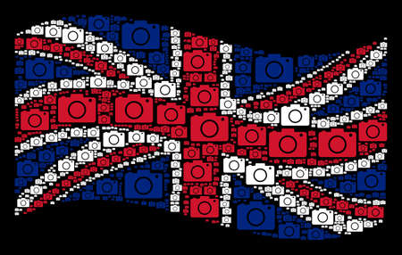 Waving Great Britain official flag on a black background. Vector photo camera pictograms are organized into geometric English flag illustration.