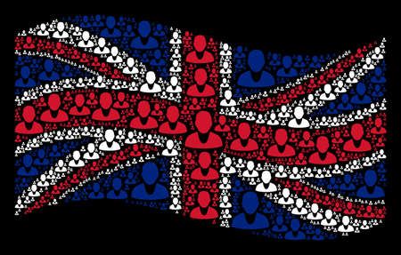 Waving UK state flag on a black background. Vector client design elements are formed into mosaic Great Britain flag composition. Patriotic concept made of client icons. Иллюстрация