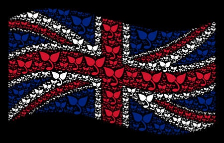 Waving UK official flag on a black background. Vector sprout items are scattered into mosaic Great Britain flag illustration. Patriotic composition composed of sprout design elements.