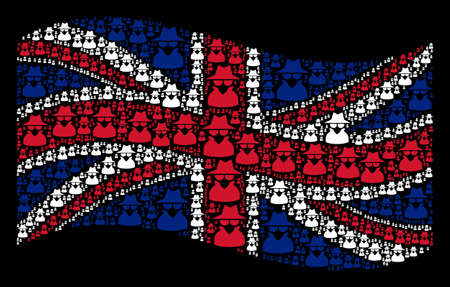 Waving UK official flag on a black background. Vector spy design elements are united into conceptual British flag abstraction. Patriotic collage constructed of spy pictograms.